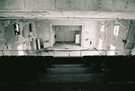 An old photo of the theater area where the latest fire started