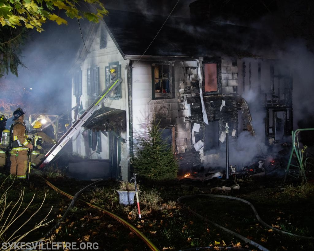 Last of the active fire being knocked down and overhaul operations commencing  Photo by PIO Gary McGinnis